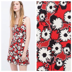 ZARA TRAFALUC Red Black White Floral zipup dress M